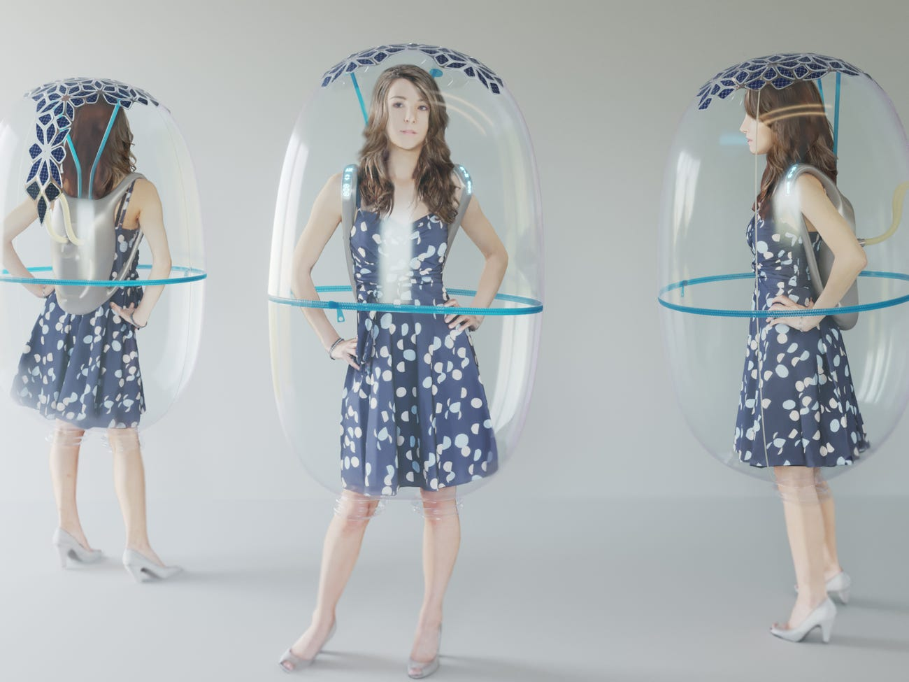 A designer created a solar-powered inflatable 'Bubble Shield' that filters the air around the wearer to protect from the coronavirus