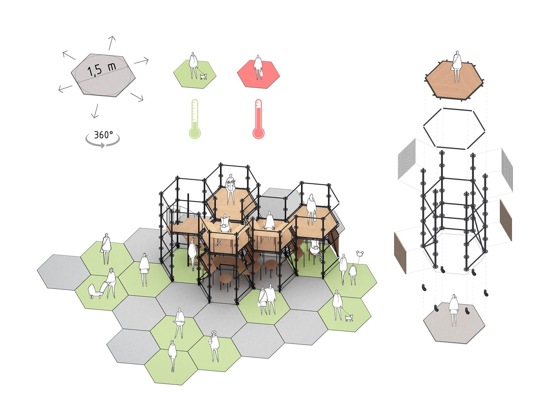 Hexagonal-Module Concept for Social Distancing